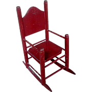 "11"" Antique Red Wooden Rocking Chair for Doll or Bear"