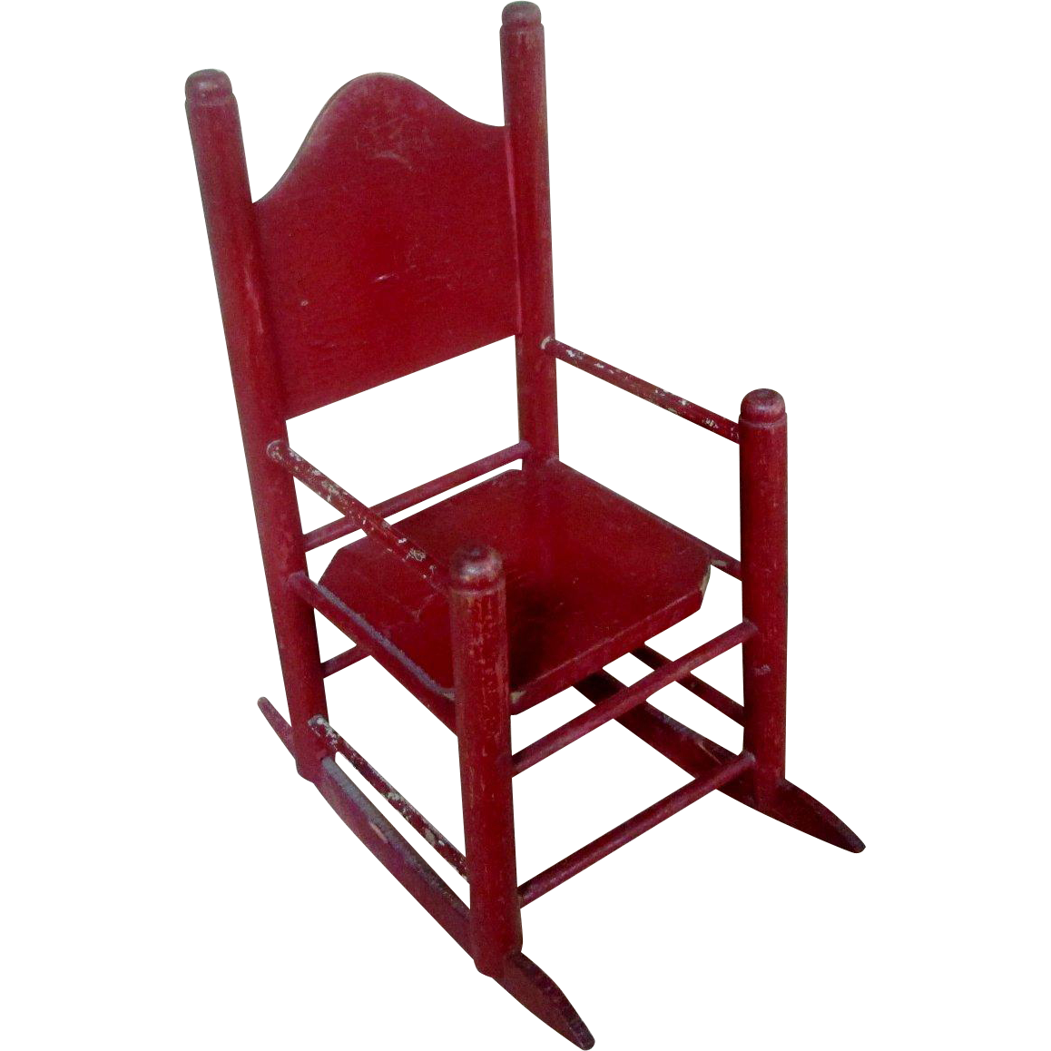 11 Antique Red Wooden Rocking Chair For Doll Or Bear From