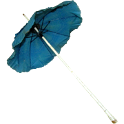 Antique 19th Century Teal Silk Parasol Wooden Bamboo Shaft Umbrella for Doll