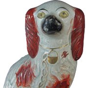 "11"" Antique Victorian Staffordshire King Charles Spaniel Dog Blue tone"