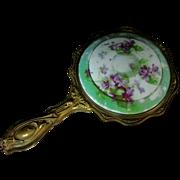 Antique Hand Held Porcelain Mirror Gold-tone over Copper Violets Design