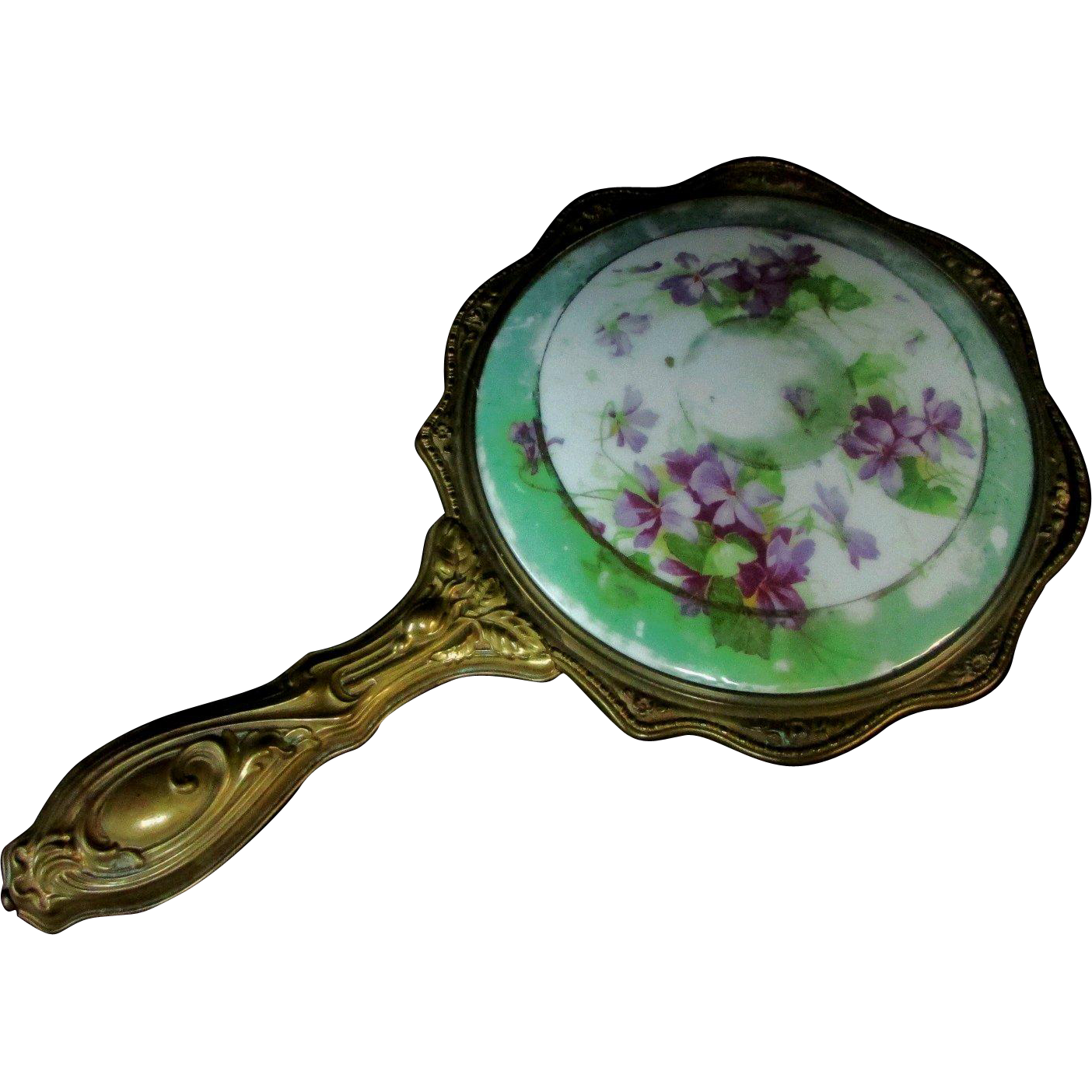 Antique Hand Held Porcelain Mirror Gold Tone Over Copper