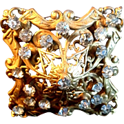 "6"" Large Antique Square Filigree Gold-tone Rhinestone Hat Pin"