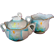 2PC Lovely Little Mint China Sugar and Creamer Swan Motif Occupied Japan