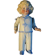"4"" Antique All Bisque Boy Doll Molded Clothes Blond Hair"