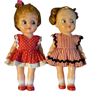 "Pair of Adorable 5"" Early 20th Century Vinyl Kressge Sister Girl Dolls - Red Tag Sale Item"