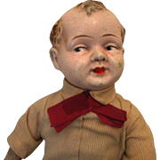 """Early 17"""" Composition Straw or Excelsior stuffed Composition Boy Doll"""