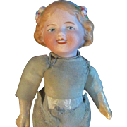"""6"""" Antique Bisque Head Doll with Molded Hair Flowers Headband Coquette Clone - Red Tag Sale Item"""