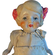 """Lovely 7"""" All Bisque Doll Hair Bows Molded Shoes Japan"""