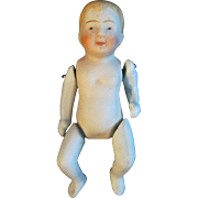 "5"" Sweet Little All Bisque Boy Doll Molded Hair NIPPON"