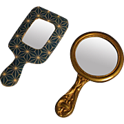 Pair 2 Antique Hand Mirrors for Doll Gold Advertising Paper