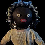 Antique Doll Black Cloth Doll Rag Doll Primitive Folk Art Poilished Cotton Body Unusual