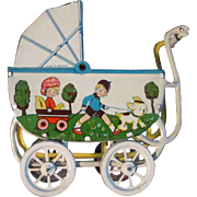 Lithographed German Doll Buggy Carriage Near Mint Condition