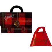 Set of Two Red Vogue Ginny Doll Purses Bags School Plaid Plain