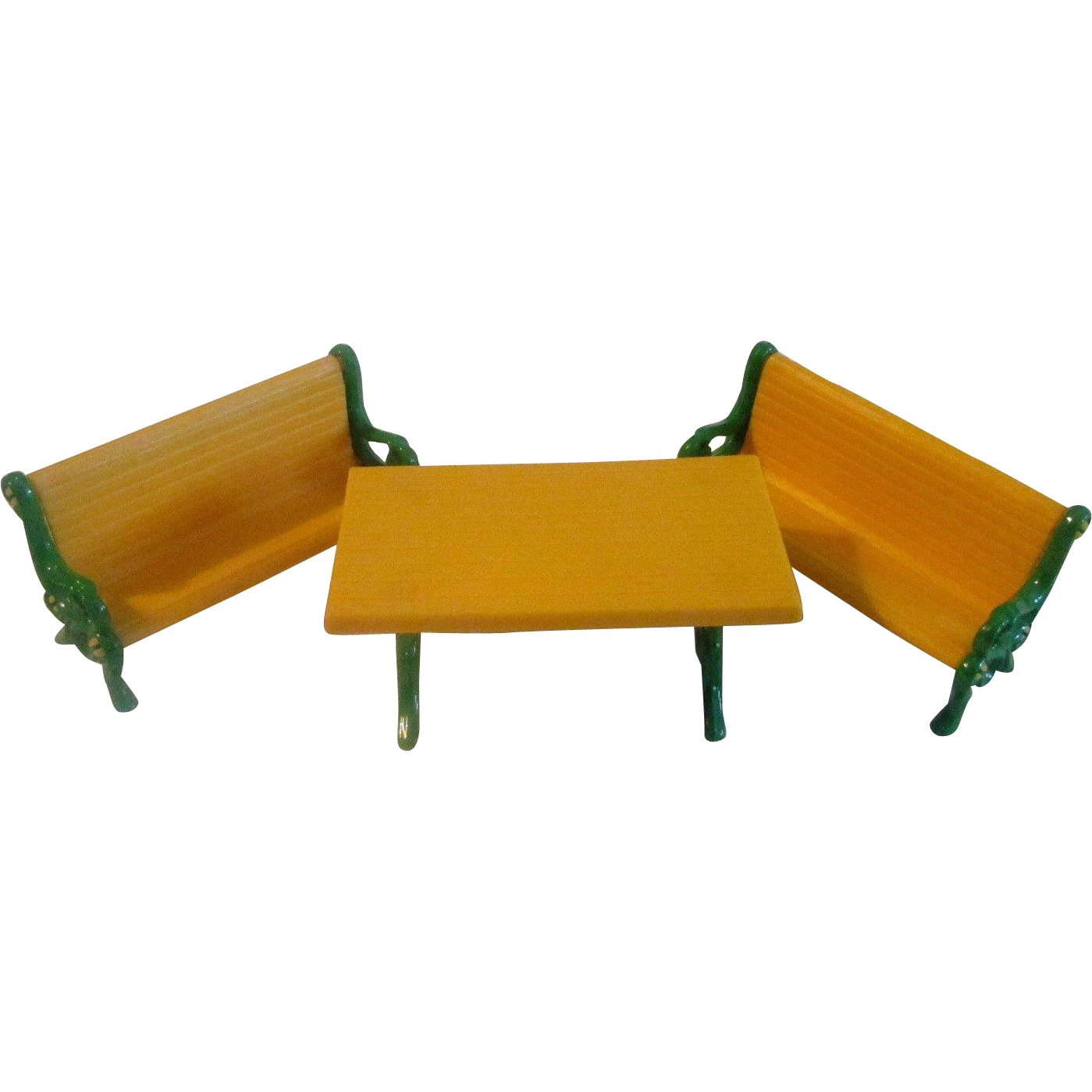 Vintage 1980 Mattel The Littles Dollhouse Picnic Table Benches Metal  Furniture