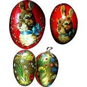 Set of Four Vintage German Papier Mache Cardboard Easter Eggs Bunny Rabbit Flowers