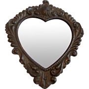 "5"" Vintage Gold-tone Heart Shaped Mirror"