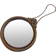 Gold-tone hand-held mirror with wire handle