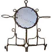 Antique Gold-tone Wall Holder with Mirror and Hooks