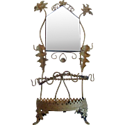 Gold-tone Whimsical French Vanity Holder Grandeur with Mirror
