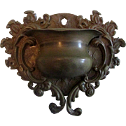 Gold-tone Metal Wall Match Holder Urn Shape with Scroll