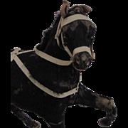 """6.5"""" Antique Skin Hide Black Horse Toy"""