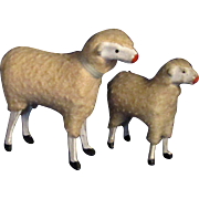 Pair Vintage Stick Leg Woolly Sheep