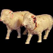 Pair Vintage Celluloid Ram Sheep