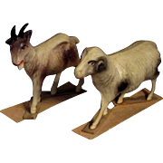 Pair Vintage Celluloid Sheep and Goat