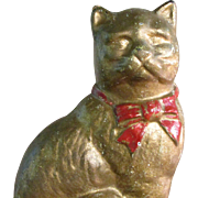 "4"" Cast Iron Metal Cat Bank White Undercoating Gold Paint"