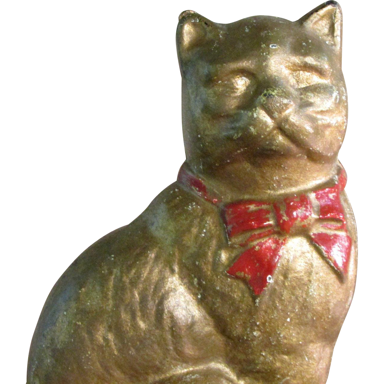 4 Cast Iron Metal Cat Bank White Undercoating Gold Paint