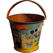 "1938 3"" Litho Ohio Arts Bryan OH Disney Mickey Sand Pail Ice Cold Drinks"