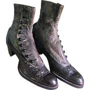 Antique Victorian High Top Button Up Ladies Boots Shoes Gray Black