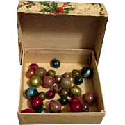 Vintage Holly Cardboard Christmas Gift Box with Glass Beads