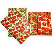 Set of Four Vintage Poinsettia Cardboard Christmas Gift Boxes
