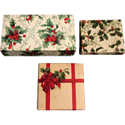 Set of Three Vintage Holly Cardboard Christmas Gift Boxes