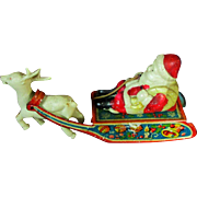 "5.5"" Vintage Metal Celluloid Santa Friction Toy Reindeer Sleigh Sled"