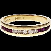 Channel Set Ruby Diamond 14 Karat Yellow Gold Band Ring