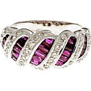 Ruby Diamond Swirl Baguette 18 Karat White Gold Ring