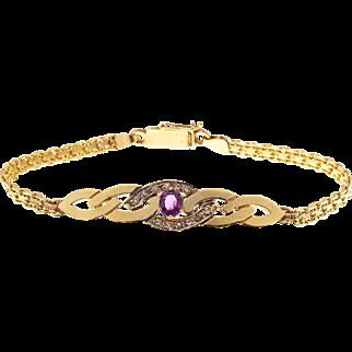 Pink Tourmaline Diamond 14 Karat Gold Swirl Design Bismark Bracelet