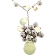 Estate 3-D 18k White Gold Colored Briolette Quartz & Citrine Bead Necklace