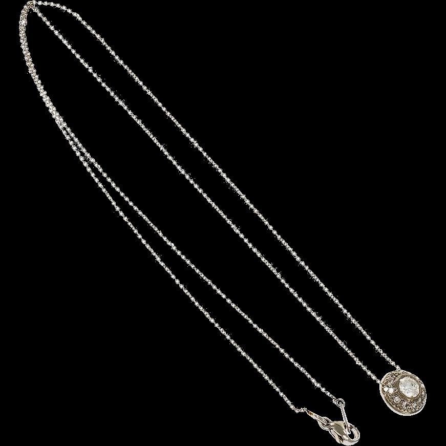 Domed Round Diamond Slide Pendant Platinum Necklace