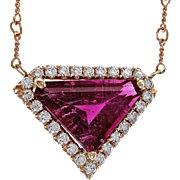 Diamond Pink Tourmaline Rubelite Diamond 14 Karat Rose Gold Pendant Necklace