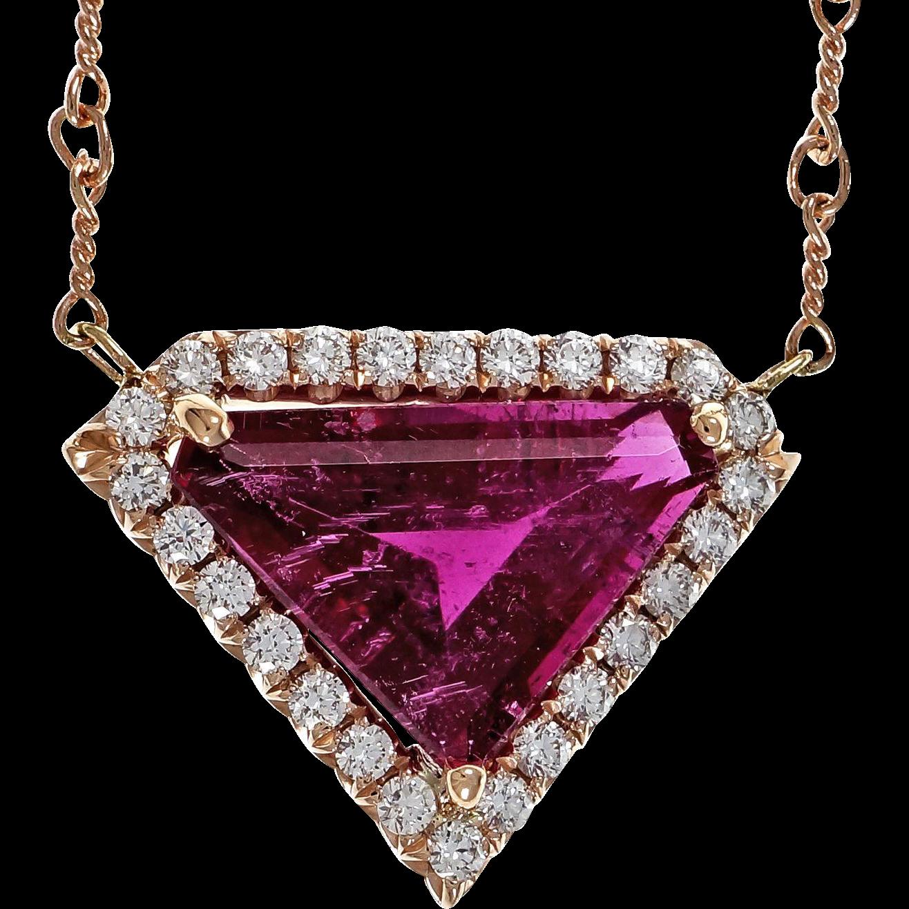 Diamond Pink Tourmaline Rubelite Diamond 14 Karat Rose Gold Pendant Necklace