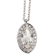 Diamond Halo Diamond By The Yard Pendant Marquise 14 Karat White Gold Necklace