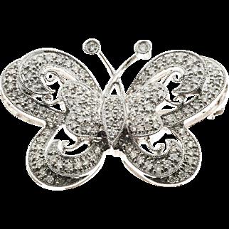 Pave Diamond 18 Karat White Gold Butterfly Pin