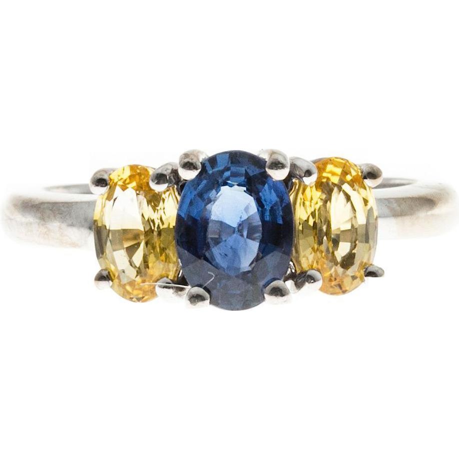 3 Stone Blue Lemon Yellow Sapphire 18 karat White Gold Ring