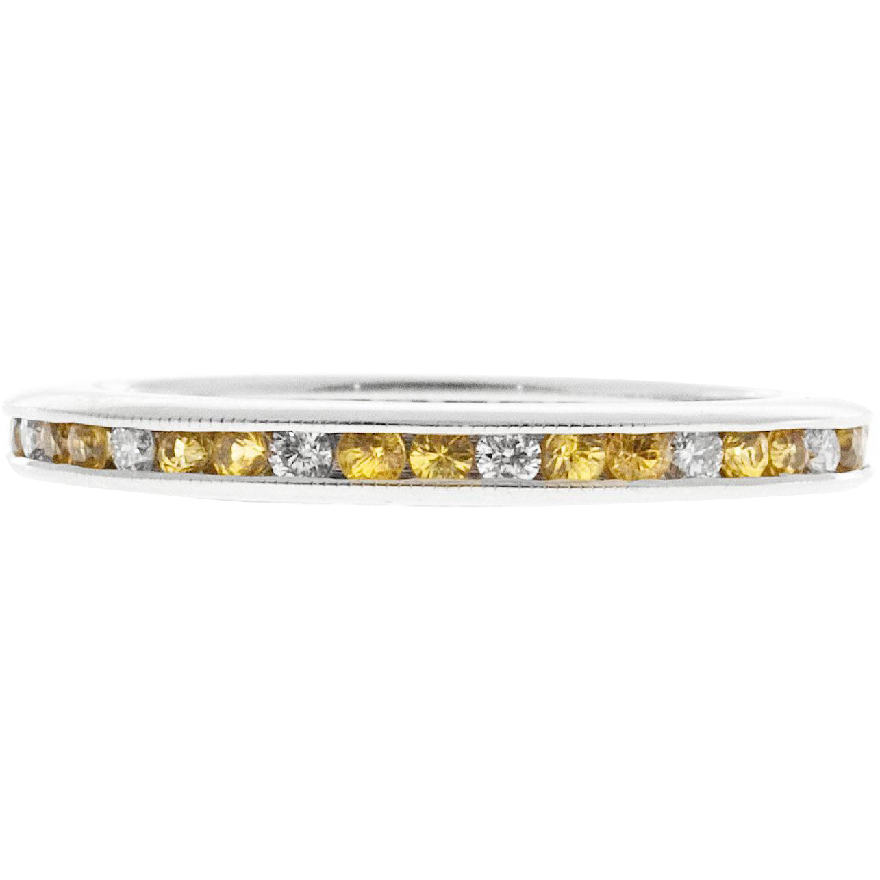 Yellow Sapphire Diamond Channel Set 14 Karat White Gold Wedding Band Eternity Ring