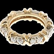 "Diamond 14 Karat White Yellow Gold ""X"" Style Eternity Band Ring"