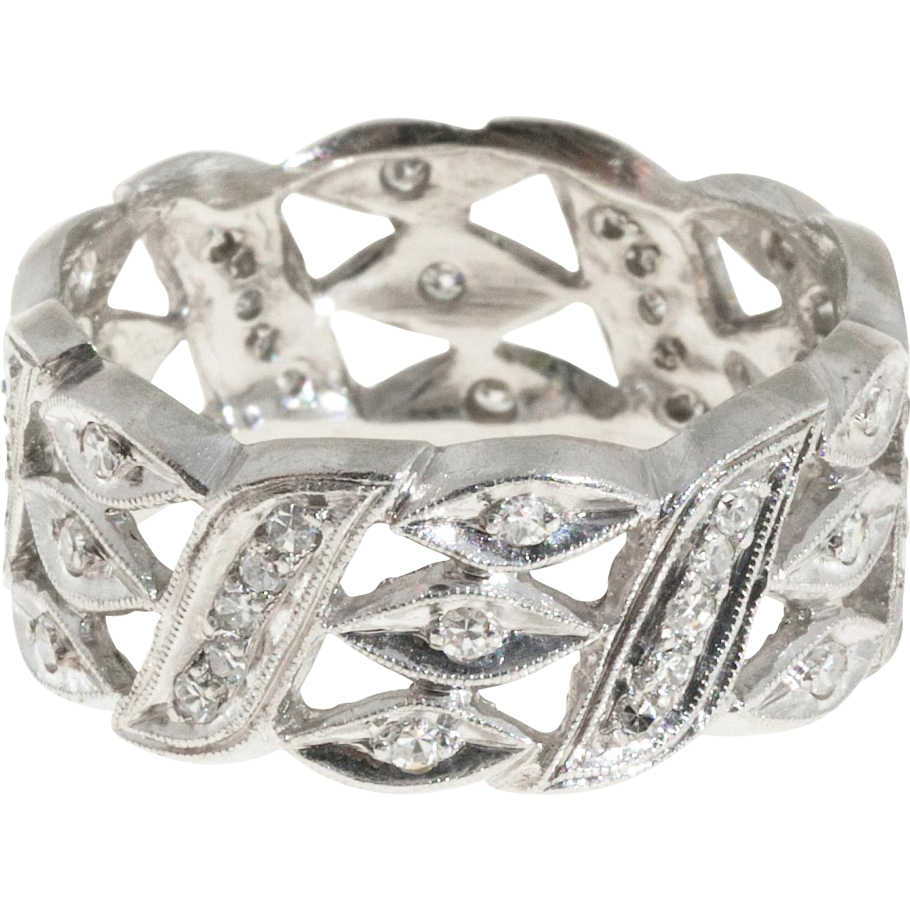 Diamond Open Work Platinum Band Ring